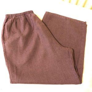 FLAX Brown Linen Crop Pants